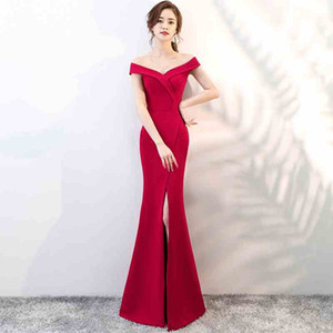 Modest V-Neck Satin Mermaid Evening Dress Long Split Cocktail Dress Party Gowns Sexy Off-Shoulder Dress Burgundy Red Black Zipper Back D25 on Sale