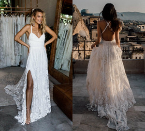 Wholesale simple beach style wedding dresses resale online - Simple A Line Beach Wedding Dresses Spaghetti Sexy Beach Country Style Lace Wedding Dress Plus Size Boho Backless Wedding Gowns