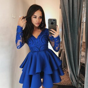 Cheap A Line Knee Length Homecoming Dresses 2019 V Neck Long Sleeve Appliques Sequin Ruched Bottom Party Skirt Girls Cocktail Dress on Sale