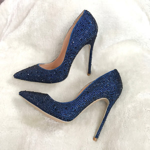 Wholesale woman women lady new dark blue navy crystal pointed toe high heels shoes pumps Rhinestone Stiletto Heel