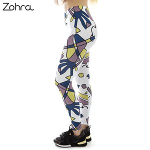 Wholesale Zohra Fashion Women White Funky Face Printing Leggings Fitness Stretch Slim Bottoms Sexy Workout Elasticity Pants