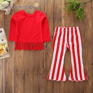 Wholesale Baby Girls Red Suit Kids Designer Tassel Pullover Solid Clothes Red White Striped Bell bottoms Boot Cut Outfits Long Sleeve Autumn T