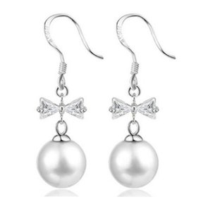 Wholesale Korean version bowknot butterfly tassel long imitation white pearl dangle earrings silver plated women girls delicate classic jewelry gift