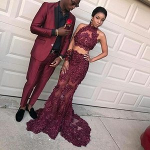 2018 Sexy Cheap Two Pieces Evening Dresses Burgundy Mermaid Lace Appliques Beads Illusion Backless Long High Neck Formal Party Prom Gowns on Sale