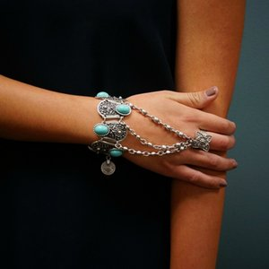 Wholesale Bohemian Silver Coin Charm Slave Bracelets For Women Floral Blue Gem Beads Bracelet Gypsy Ethnic Tribal Festival Jewelry Turkish