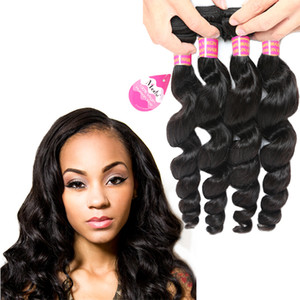 Wholesale human hair weave online for sale - Group buy Cheap A Brazilian Loose Wave Virgin Hair Extensions Bundles Peruvian Unprocessed Virgin Human Hair Weave Bundles Price Online
