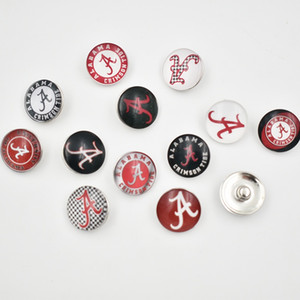 Wholesale 12 Styles Alabama Snap Buttons MM Round Glass College Sports Team Snap Charms High Quality Snap Accessories For Necklace Bracelet Earring