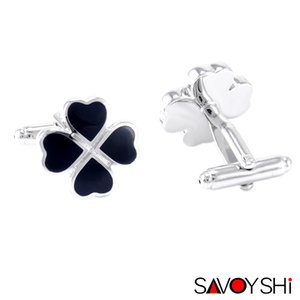 Wholesale leaf clover accessories resale online - SAVOYSHI Clover Bottons for Mens Shirt Brand Cuff Bottons Accessories Black Enamel Leaf Cuff Links Fashion Wedding Gift