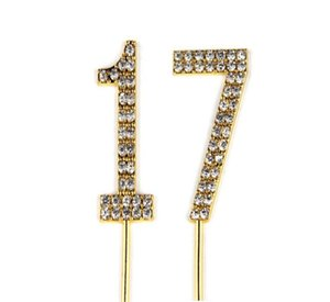 Number 17 Cake Topper 17th Baby Birthday Wedding Anniversary Cupcake Topper Gold Alloy Meta with Glitter Crystals Cake Decoratio1