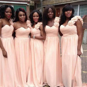 Wholesale dresses light pink for sale - Group buy Light Pink Bridesmaid Dresses One Shoulder A Line Chiffon Party Gowns Back Zipper Tiered Ruffle Custom Made Prom Gowns With hand Made Flower