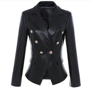 Wholesale jacket motorcycle for sale - Group buy New Style Top Quality Original Design Women s Slim Classic Leather Blazer Jacket Metal Buckles Double Breasted Black Motorcycle Jacket Coat