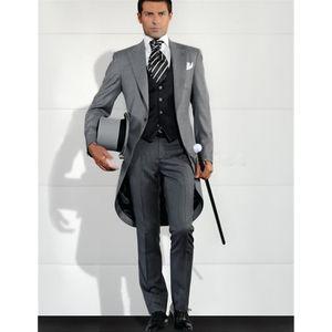 Grey Men Blazer Tailcoat Groomsman Long Mens Wedding Suit (Jacket+Pants+Vest) Men Suit Set Man Tuxedos For Prom Dinner 2017