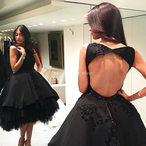 Delicate Short Black Ball Gown Prom Dresses 2018 Jewel Hollow Back Knee Length Appliques Beads Formal Prom Evening Gowns Vestidos De Fiesta on Sale