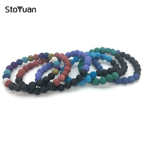 Wholesale Natural Lava Stone Bracelet mm Round Ball Beaded Strand Colors Colorful Elastic Wristband Bracelets Women Men
