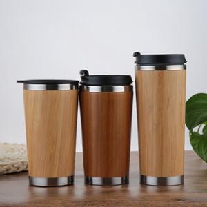 Wholesale custom logo creative bamboo coffee mug stainless steel water cup with lids environmental friendly bamboo tea cup hot office water bottle