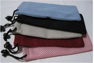 Wholesale Sunglasses Pouch Gridding Phone Bags X9CM With Drawstring Charger Clothing Pouch Optical Frame Sandwich Net Bag Mix Colors Cheap