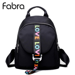 ingrosso confezioni backproof impermeabili-Fabra Fashion Waterproof Nylon Backpacks Donne Solid Zipper Preppy Style Soft Back Pack Unisex Small School Bag Love Ricamo
