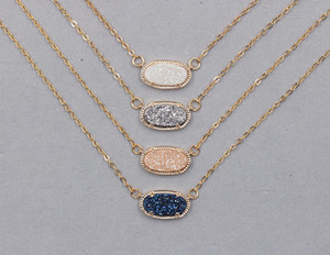 Wholesale 4 Colors Druzy Necklaces With Gold Plated Drusy Geode For Party Sparkling Bridesmaid Jewelry YHA