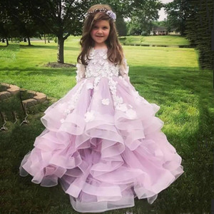 Wholesale Lovely Jewel Long Sleeves Flower Girls Dresses With White Applique Long Sleeves Brithday Gowns Tiered Ruffle Custom Made Party Dresses