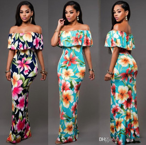 Wholesale Cheap Autumn Maxi Floral Printed Dresses Women Long Dresses Off the Shoulder Beach Dresses Sheath Bodycon Floor Length Holiday FS1179