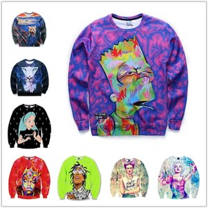 Wholesale Creative fashion graffiti shirt long sleeved new European and American men s digital landscape oil painting D printing sweater tide brand m