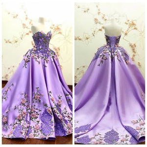 Wholesale Beautiful Sweetheart 3D Flowers Adorned Prom Dresses Embroidery Satin Lace Appliques Bandage Formal Special Occasion Evening Party Gowns