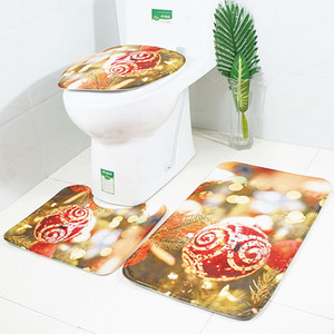 Wholesale Christmas Decor Bath Mats Ball Snowman Printed Bathroom Rugs Set Non Slip Water Absorption Toilet Cover Bath Mat Rugs