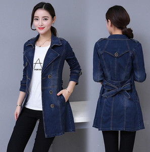 Autumn Women Casual slim Long Denim Trench Coat Female Boyfriend jean Overalls Plus Size Double-breasted Windbreaker coats y79