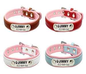 Wholesale Pet Dog Personalized ID Collar Stainless Steel Tag Engraving Name Phone Neck Soft Leather For Small Medium Large Dogs Supplies