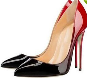 Fashion Pointed Toe High Heels Designer Two Colors Red Bottom Shoes Sexy Shallow Mouth Sole High-heeled Women Wedding Dress Shoes