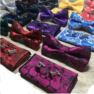 Wholesale Paisley Bow Tie Set Bow Tie And Hanky Cufflinks Set Silk Jacquard Woven Men Butterfly BowTie Pocket Square Handkerchief Suit Wedding Se
