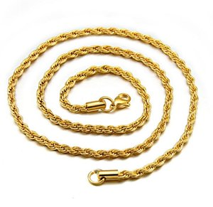 3MM Stainless Steel Gold Plated Twist Rope Chain Necklace Fashion for Mens Womens Gold Chain Necklace