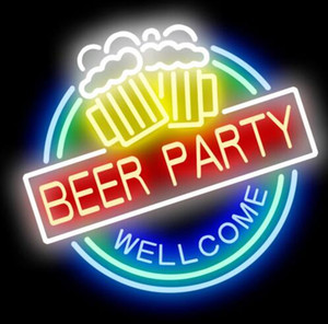 24*20 inch Gift Beer Party Welcome DIY Glass Neon Sign Flex Rope Neon Light Indoor Outdoor Decoration RGB Voltage 110V-240V