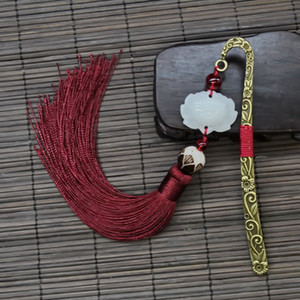 Wholesale 5 Colors Chinese Style Vintage Antique Metal Bookmark Handmade Silky Tassels Beads Classical Book Mark School Office Supplies Gifts