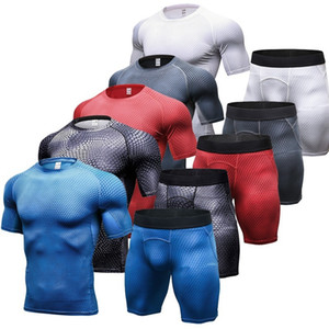 Compression Muscle Men Tracksuit Demix Running Set Fitness Tight T-shirt Legging Shorts Men's Sportswear Gym Sport Suit