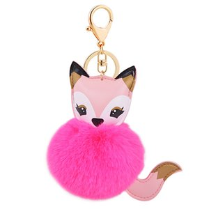 Free Shipping New Fashion Pink Fur Ball PU Leather Fox Keychain Foxhead Charm Pendant Keyring Bag Purse Car Key Chain Free Delivery Charge