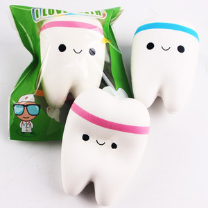 Wholesale Cute tooth Squishy Kawaii teeth Bag Key Cell Phone Straps Soft toy Simulation toys christmas gift OTH763