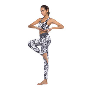 Women Sport Suit Floral Print Yoga Set Fitness Top Fitness Women Pants High Waist Leggings Push Up Yoga Pants Workout Clothing on Sale