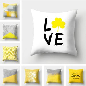 Wholesale 45 * 45CM Home Sofa Pillowcase Pineapple leaf style PP cotton White Pillow Cover Cushion Cover Decor Pillow Case Blank Decor Gift T1I744