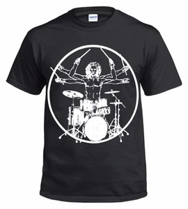 Wholesale Vitruvian Drummer Funny Drumming T shirt Drums Drum Kit Stick Music Rock Top Tee Retro Cotton Print Shirt Tee