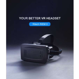 Wholesale F17697 RITECH RIEM II Head Mount D VR Virtual Reality Glasses with Cardboard Band Moive Game Personal Cinema for Smartphone