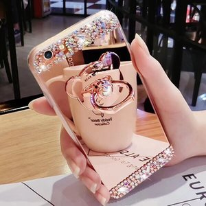 Wholesale YunRT Luxury Rhinestone Case Cover For iPhone S Plus X Diamond Crystal Glitter Mirror Girls with Ring Holder Stand Soft TPU
