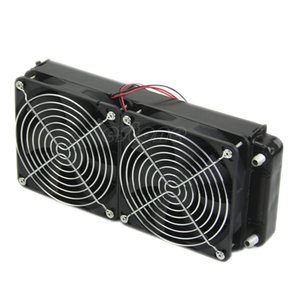 Wholesale 2 x fan MM Aluminum Computer Cooler Small Cooling Fan PC Black Heat Sink Computer Water Cooling Radiator Cooler