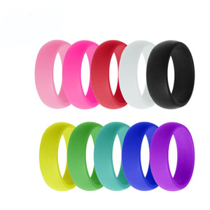 Wholesale 8mm Silicone Ring Rainbow Candy Color Set Affordable Sports Ring Couple Wedding Bands Hip Hop Jewelry Support FBA Drop Shipping H501F