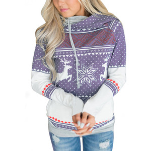 Wholesale Hot Women s Long Sleeves Christmas Tee Hoodies Casual Loose Womens Cute Deer Printed Hooded Shirts Pullover Tops with Pocket FS5263