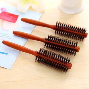 Portable Protective Curly Hair Comb Round Brush Wood Handle Bristle Anti-static Hairdressing For Salon Home