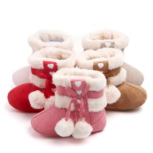 Winter Fashion New Baby Toddler Shoes Decorative Bow Plush Warm Boots 0-8 Months Girls Shoes To Send Baby Christmas Gifts