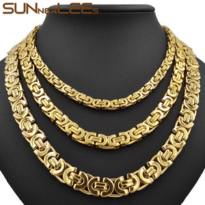 Wholesale Fashion Jewelry Stainless Steel Necklace mm mm mm Box Byzantine Link Chain Gold Color For Mens Womens SC07 N