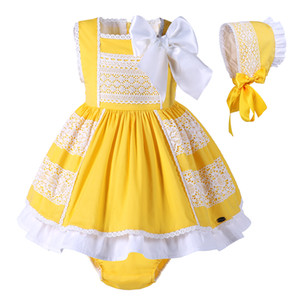 Pettigirl Baby Girls Dress Cotton Children Yellow Costume Kids Summer clothes Girls With Bonnie +PPpants G-DMCS101-B174
