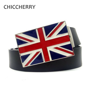Wholesale British Union Jack Flag Metal Buckle Mens Belts Cinto Masculino Ceinture Homme Erkek Kemer Cintura UoMen Accessories Gifts